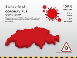 Zwitserland getroffen landkaart van verspreiding van coronavirus