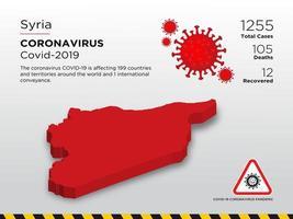 Syrië getroffen landkaart van de verspreiding van het coronavirus