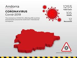 door Andorra getroffen landkaart van de verspreiding van het coronavirus vector