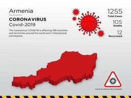 door Armenië getroffen landkaart van de verspreiding van het coronavirus