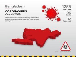 door Bangladesh getroffen landkaart van de verspreiding van het coronavirus