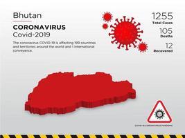 bhutan getroffen landkaart van de verspreiding van het coronavirus vector