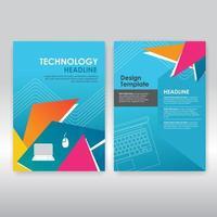 kleurrijke driehoeken op blauwe brochure sjabloon