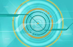 lichtblauw en oranje tech cirkelontwerp