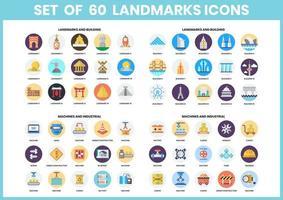 set van 60 landmark en machine iconen