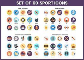 set van 60 sport-, fitness- en muziek iconen vector
