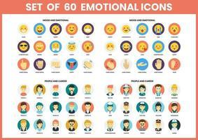 set van 60 emotie en mensen iconen vector