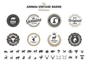 vintage badge set met stier en andere dieren vector