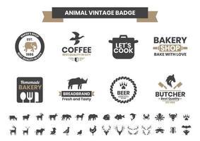 vintage badge set met olifant en andere dieren