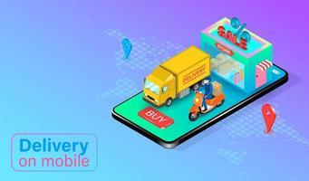 scooter en vrachtwagen op grote telefoon te wachten op levering vector