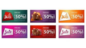 set van kleurrijke horizontale korting verkoop banners vector