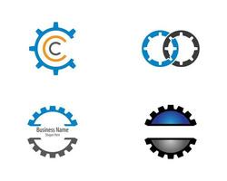 versnelling deel logo icon set vector