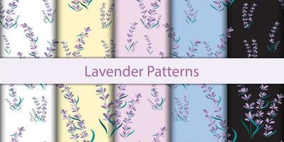 naadloze lavendel bloemenpatronen vector