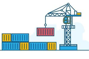 kleurrijke lijntekeningen kraan en container