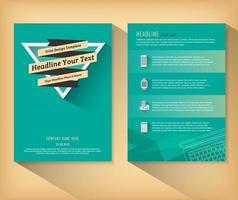 groene retro brochure met banner over driehoek