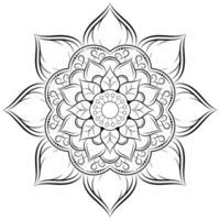 bloem mandala in zwarte omtrek vector