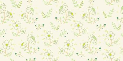 witte bloemen met groen knoppenpatroon vector