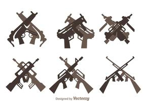 Gekruiste Guns Icons Set