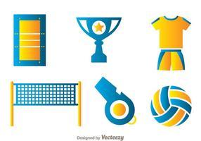Volleybal element iconen vector