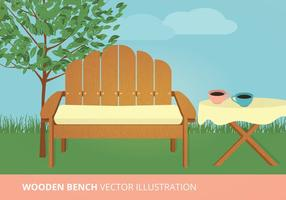 Houten Bank Vector Illustratie