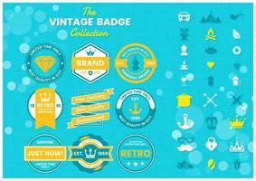 blauwe en gele kwaliteit, echte, beperkte tijd logo's vector