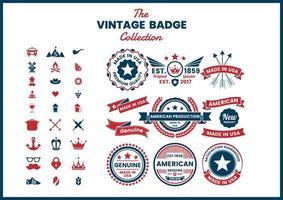 rood en blauw gemaakt in de VS, authentieke logo's ingesteld vector