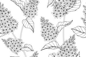 naadloze patroon hand getrokken lila bloem en bladontwerp vector