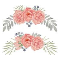 handgeschilderde perzik roos bloem curve arrangement set vector