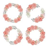 aquarel bloem krans met perzik roos collectie set vector