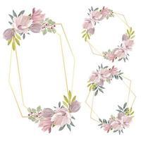 set van aquarel magnolia bloemkader grens set
