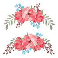 handgeschilderde aquarel rode bloemen boeket set vector