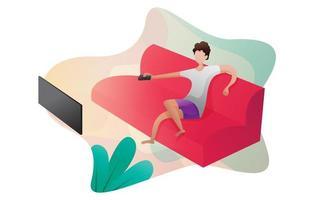 blijf thuis bank concept illustratie