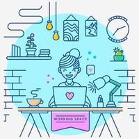werk thuis werkruimte vector
