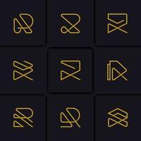 elegante mono lijn letter r vector