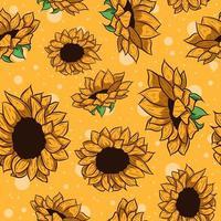 geel zonnebloemen herhalend patroon vector