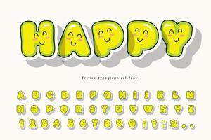kawaii bubbel lettertype met grappige lachende gezichten vector