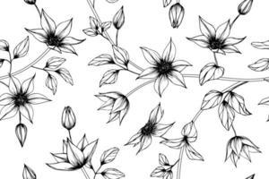 hand getrokken clematis bloemenpatroon vector