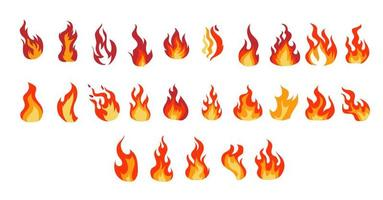 brand vlammen cartoon set vector