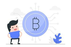 cartoon man met grote bitcoin