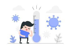 cartoon jongen ziek met virus vector