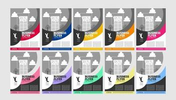 kleurrijke gebogen flyer ontwerpset