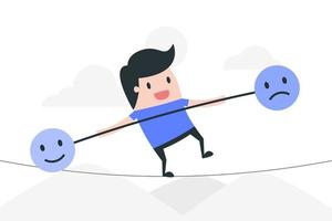 cartoon man op touw evenwichtige emoties vector