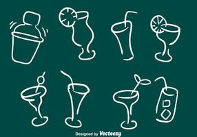 Schetsmatige Cocktail Pictogrammen vector
