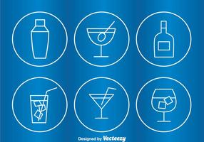 Cocktail Circle Outline Pictogrammen vector
