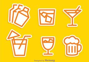 Cocktail overzicht pictogrammen vector