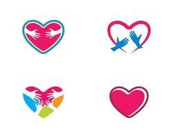 hou van hart en handen logo set vector