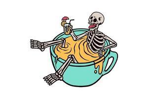 doodle van skelet ontspannen in drankje