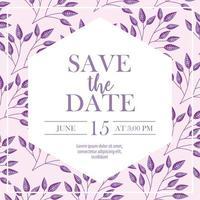 bewaar de datumkaart met paarse bloemen
