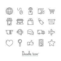 doodle e-commerce pictogrammen instellen vector