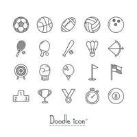 Doodle sport pictogrammen instellen vector